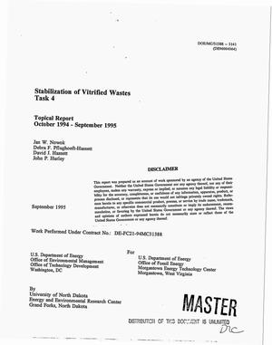 Primary view of object titled 'Stabilization of vitrified wastes: Task 4. Topical report, October 1994--September 1995'.
