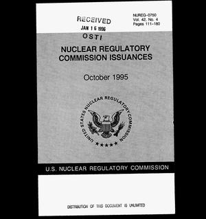 Primary view of object titled 'Nuclear Regulatory Commission issuances. Volume 42, No. 4'.