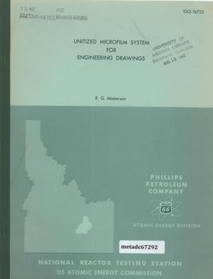 Primary view of object titled 'Unitized Microfilm System for Engineering Drawings of Idaho Operations Office, USAEC and Its Contractors'.