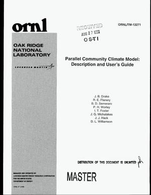 Primary view of object titled 'Parallel community climate model: Description and user`s guide'.