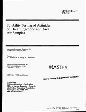 Primary view of object titled 'Solubility testing of actinides on breathing-zone and area air samples'.