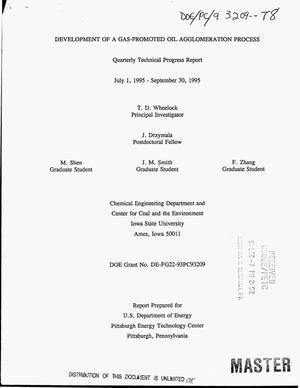 Primary view of object titled 'Development of a gas-promoted oil agglomeration process. Quarterly technical progress report, July 1, 1995--September 30, 1995'.