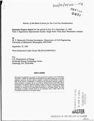 Primary view of object titled 'Kinetics of Mn-based sorbents for hot coal gas desulfurization. Quarterly progress report, July 15, 1995--September 15, 1995'.