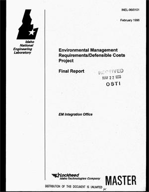 Primary view of object titled 'Environmental management requirements/defensible costs project. Final report'.