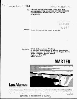 Primary view of object titled 'The Los Alamos PC/FRAM code for the nondestructive analysis of the isotopic composition of plutonium and other actinides'.