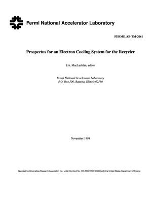 Primary view of object titled 'Prospectus for an electron cooling system for the recycler'.