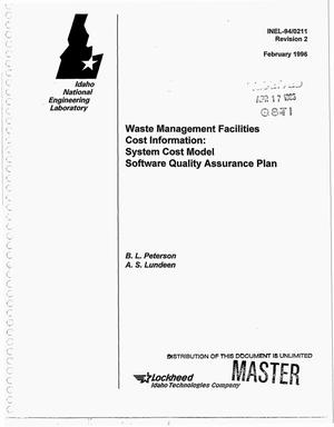 Primary view of object titled 'Waste Management facilities cost information: System Cost Model Software Quality Assurance Plan. Revision 2'.