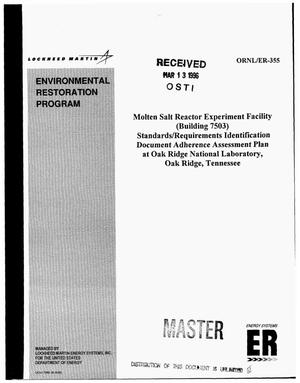 Primary view of object titled 'Molten Salt Reactor Experiment Facility (Building 7503) standards/requirements identification document adherence assessment plan at Oak Ridge National Laboratory, Oak Ridge, Tennessee'.