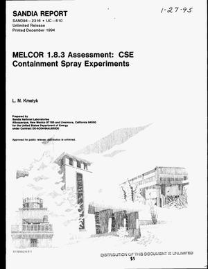 Primary view of object titled 'MELCOR 1.8.3 assessment: CSE containment spray experiments'.