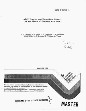 Primary view of object titled 'ASAP progress and expenditure report for the month of February 1--29, 1996'.