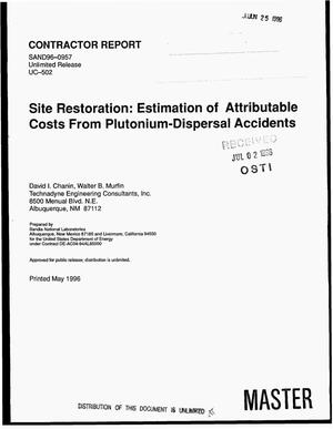 Primary view of object titled 'Site restoration: Estimation of attributable costs from plutonium-dispersal accidents'.