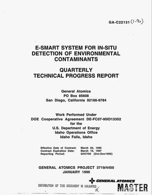 Primary view of object titled 'E-SMART system for in-situ detection of environmental contaminants. Quarterly progress report'.