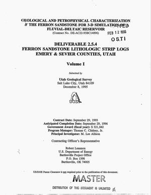 Primary view of object titled 'Geological and petrophysical characterization of the Ferron Sandstone for 3-D simulation of a fluvial-deltaic reservoir. Deliverable 2.5.4, Ferron Sandstone lithologic strip logs, Emergy & Sevier Counties, Utah: Volume I'.