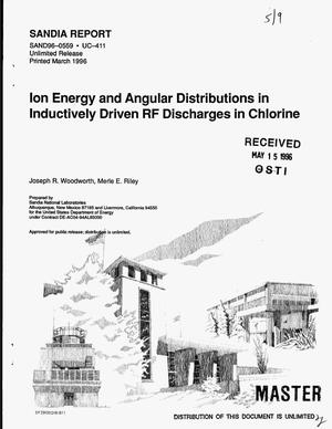 Primary view of object titled 'Ion energy and angular distributions in inductively driven RF discharges in chlorine'.