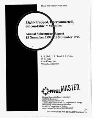 Primary view of object titled 'Light-trapped, interconnected, silicon-film {trademark} modules. Annual subcontract report, 18 November 1994--18 November 1995'.