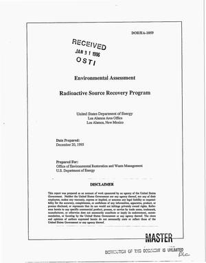 Primary view of object titled 'Environmental Assessment Radioactive Source Recovery Program'.