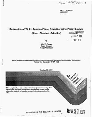 Primary view of object titled 'Destruction of VX by aqueous-phase oxidation using peroxydisulfate (direct chemical oxidation)'.