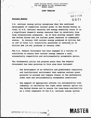 Primary view of object titled 'Draft nuclear energy policy statement for DOE report to the International Energy Agency: long version'.
