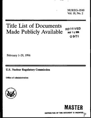 Primary view of object titled 'Title list of documents made publicly available: February 1--29, 1996. Volume 18, Number 2'.