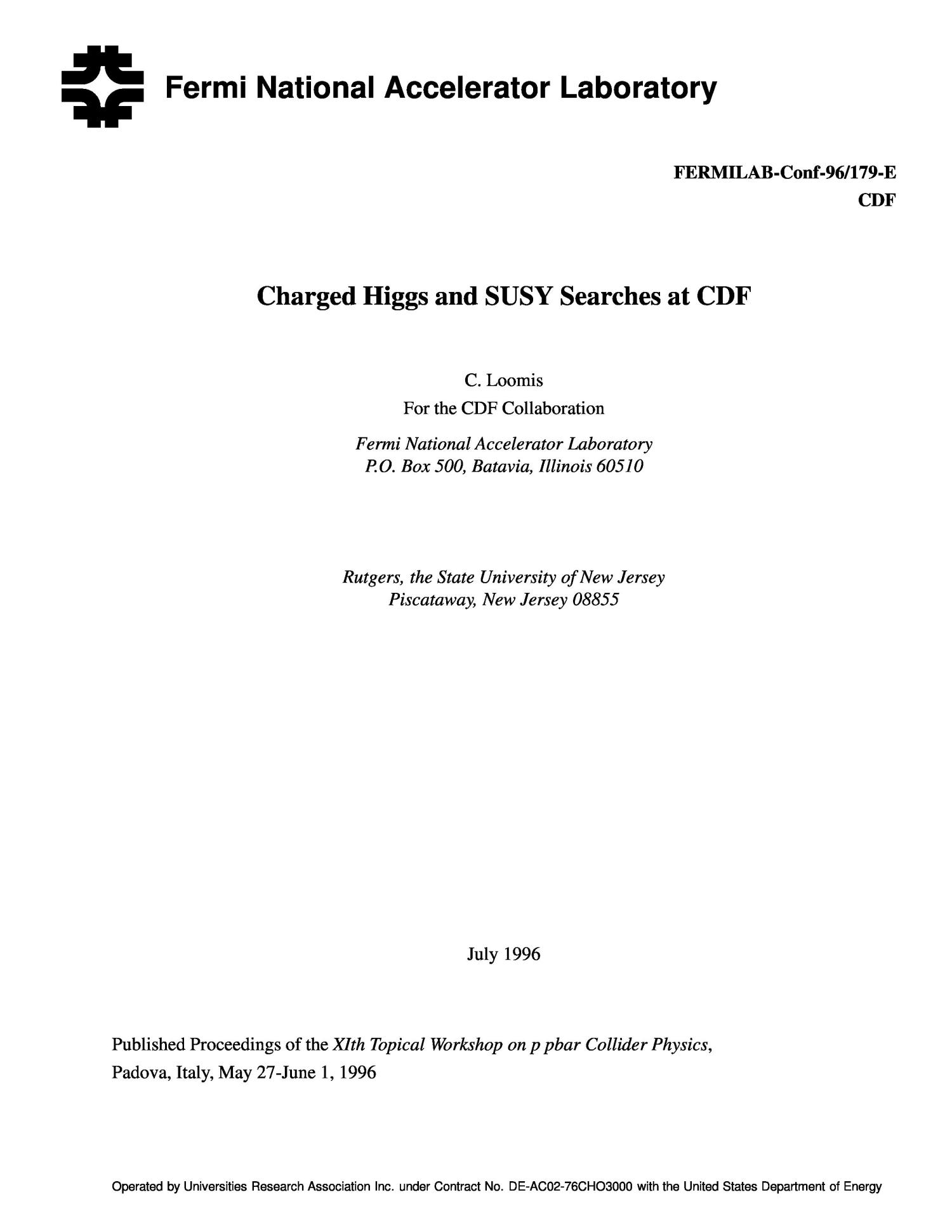 Charged Higgs and SUSY searches at CDF                                                                                                      [Sequence #]: 1 of 11
