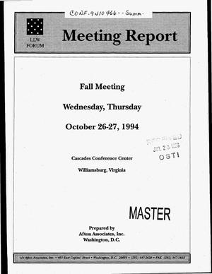 Primary view of object titled 'LLW Forum meeting report, October 26--27, 1994'.