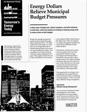 Primary view of object titled 'Tomorrow`s energy today for cities and counties: Energy dollars relieve municipal budget pressures'.