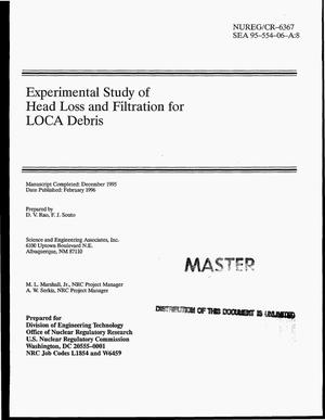 Primary view of object titled 'Experimental study of head loss and filtration for LOCA debris'.