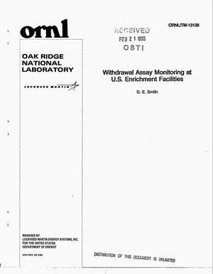 Primary view of object titled 'Withdrawal assay monitoring at US Enrichment Facilities'.