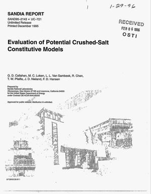 Primary view of object titled 'Evaluation of potential crushed-salt constitutive models'.