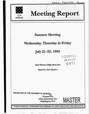 Primary view of object titled 'Low-level Waste Forum meeting report. Summer meeting, July 21--23, 1993'.