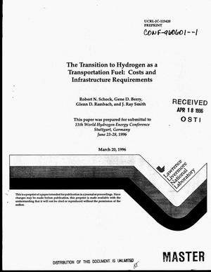 Primary view of object titled 'The transition to hydrogen as a transportation fuel: Costs and infrastructure requirements'.