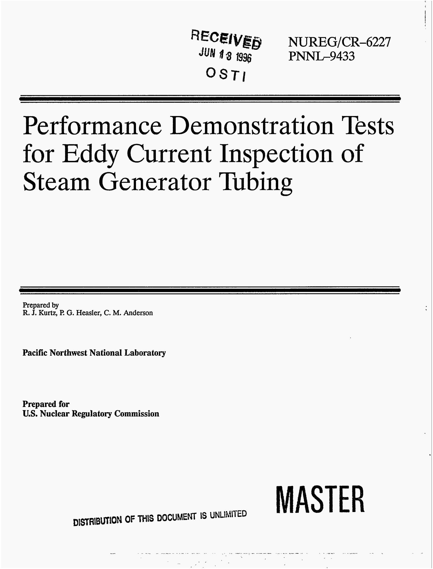Performance demonstration tests for eddy current inspection of