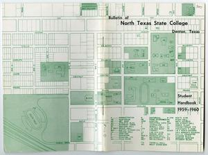 Primary view of object titled '[Bulletin of N.T.S.C, Denton, Texas: Student Handbook 1959/60, Campus Map]'.