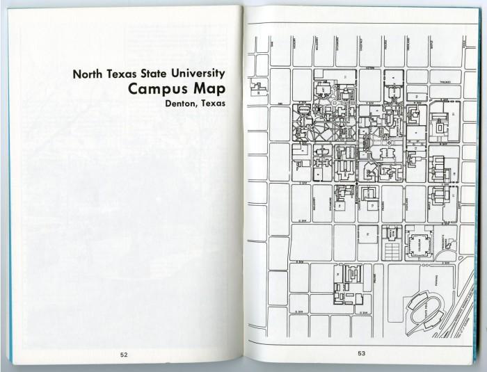 North Texas State University Campus Map Denton Texas 197273