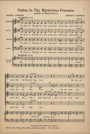 Primary view of object titled 'Father, In Thy Mysterious Presence: Anthem for Mixed Chorus'.