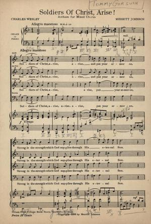 Primary view of object titled 'Soldiers of Christ, Arise!: Anthem for Mixed Chorus'.