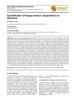 Primary view of object titled 'Quantification of happy emotion: dependence on decisions'.