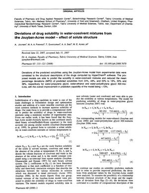 Primary view of object titled 'Deviations of drug solubility in water-cosolvent mixtures from the Jouyban-Acree model - effect of solute structure'.