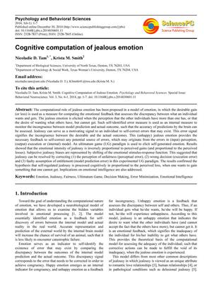 Primary view of object titled 'Cognitive computation of jealous emotion'.
