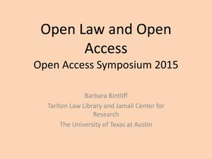 Primary view of object titled 'Open Law and Open Access'.