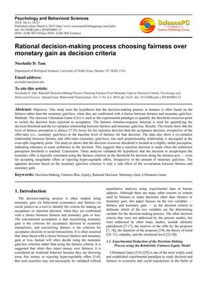 Primary view of object titled 'Rational decision-making process choosing fairness over monetary gain as decision criteria'.