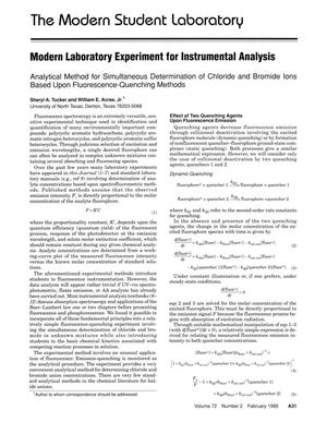 Primary view of object titled 'Modern Laboratory Experiment for Instrumental Analysis: Analytical Method for Simultaneous Determination of Chloride and Bromide Ions Based Upon Fluorescence-Quenching Methods'.