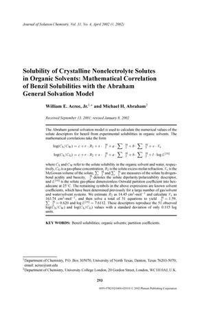Primary view of object titled 'Solubility of Crystalline Nonelectrolyte Solutes in Organic Solvents: Mathematical Correlation of Benzil Solubilities with the Abraham General Solvation Model'.