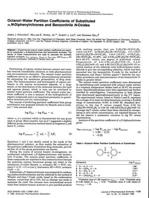Primary view of object titled 'Octanol-Water Partition Coefficients of Substituted α,N-Diphenylnitrones and Benzonitrile N-Oxides'.