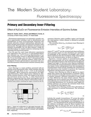 Primary view of object titled 'Primary and Secondary Inner Filtering: Effect of K₂Cr₂O₇ on Fluorescence Emission Intensities of Quinine Sulfate'.