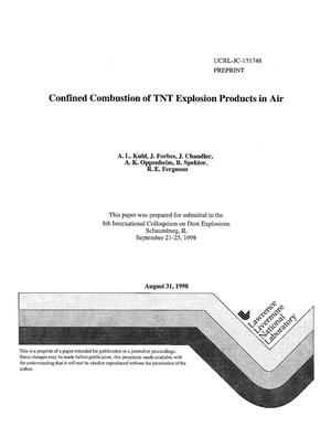 Primary view of object titled 'Confined combustion of TNT explosion products in air'.