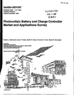 Primary view of object titled 'Photovoltaic battery & charge controller market & applications survey. An evaluation of the photovoltaic system market for 1995'.