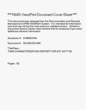 Primary view of object titled 'Tank characterization report for single-shell tank 241-T-106'.