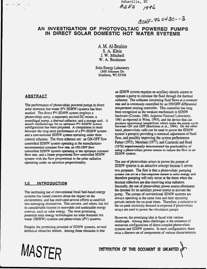 An investigation of photovoltaic powered pumps in direct solar ...