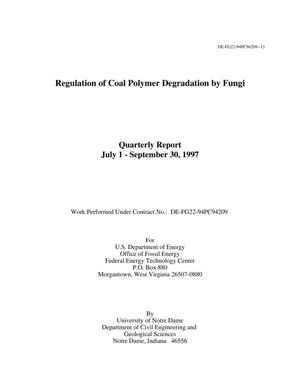 Primary view of object titled 'Regulation of Coal Polymer Degradation by Fungi'.